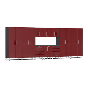 11-Piece Cabinet Kit with Channeled Worktop in Ruby Red Metallic