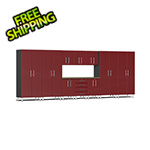 Ulti-MATE Garage Cabinets 11-Piece Cabinet Kit with Bamboo Worktop in Ruby Red Metallic