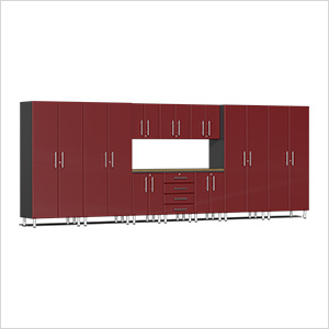 11-Piece Cabinet Kit with Bamboo Worktop in Ruby Red Metallic