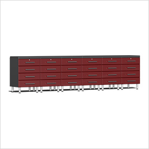 8-Piece Cabinet Kit with 2 Channeled Worktops in Ruby Red Metallic