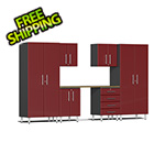 Ulti-MATE Garage 2.0 Series 7-Piece Cabinet Kit with Bamboo Worktop in Ruby Red Metallic