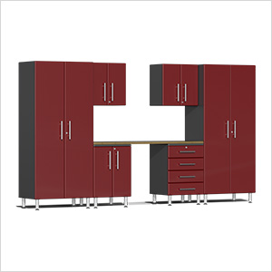 7-Piece Cabinet Kit with Bamboo Worktop in Ruby Red Metallic