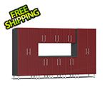 Ulti-MATE Garage 2.0 Series 9-Piece Cabinet Kit with Channeled Worktop in Ruby Red Metallic