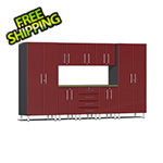 Ulti-MATE Garage 2.0 Series 9-Piece Cabinet Kit with Bamboo Worktop in Ruby Red Metallic