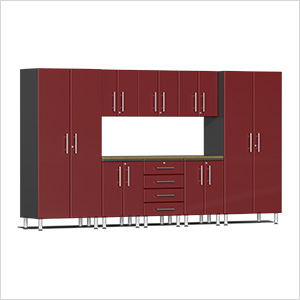 9-Piece Cabinet Kit with Bamboo Worktop in Ruby Red Metallic