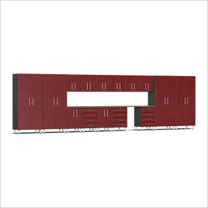 17-Piece Cabinet Kit with Bamboo Worktop in Ruby Red Metallic
