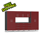 Ulti-MATE Garage Cabinets 9-Piece Cabinet Kit with Channeled Worktop in Ruby Red Metallic