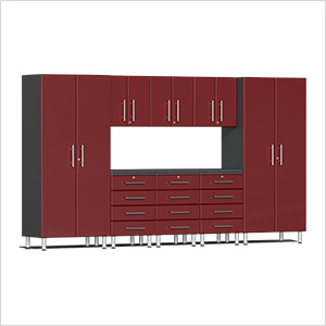 9-Piece Cabinet Kit with Channeled Worktop in Ruby Red Metallic