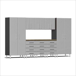 9-Piece Cabinet Kit with Bamboo Worktop in Stardust Silver Metallic