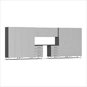 10-Piece Cabinet Kit with Channeled Worktop in Stardust Silver Metallic