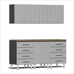 7-Piece Cabinet Kit with Bamboo Worktop in Stardust Silver Metallic