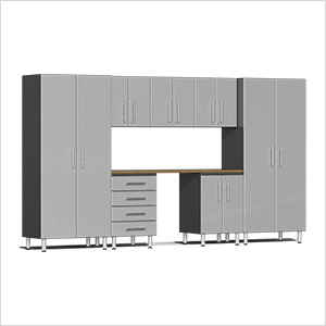 8-Piece Cabinet Kit with Bamboo Worktop in Stardust Silver Metallic