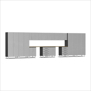16-Piece Cabinet Kit with Bamboo Worktop in Stardust Silver Metallic