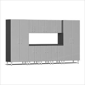 9-Piece Cabinet Kit with Channeled Worktop in Stardust Silver Metallic