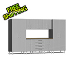 Ulti-MATE Garage Cabinets 9-Piece Cabinet Kit with Bamboo Worktop in Stardust Silver Metallic