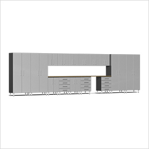 17-Piece Cabinet Kit with Bamboo Worktop in Stardust Silver Metallic