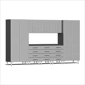 9-Piece Cabinet Kit with Channeled Worktop in Stardust Silver Metallic