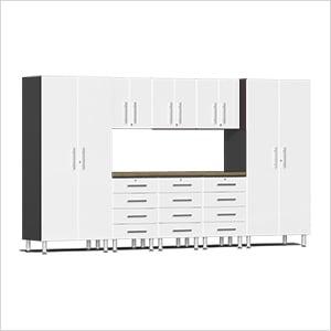 9-Piece Cabinet Kit with Bamboo Worktop in Starfire White Metallic