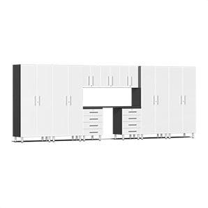 10-piece Cabinet Kit With Channeled Worktop In Starfire White Metallic