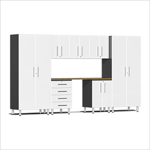 8-Piece Cabinet Kit with Bamboo Worktop in Starfire White Metallic