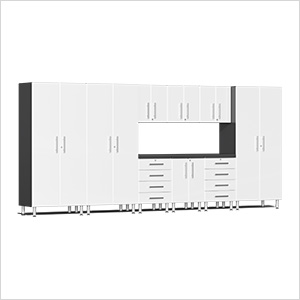 10-Piece Cabinet Kit with Channeled Worktop in Starfire White Metallic