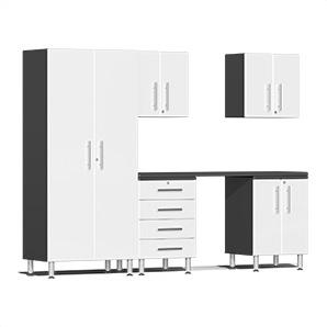 6-piece Cabinet Kit With Channeled Worktop In Starfire White Metallic