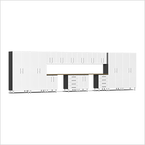 16-Piece Cabinet Kit with Bamboo Worktop in Starfire White Metallic