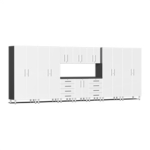 11-piece Cabinet Kit With Channeled Worktop In Starfire White Metallic