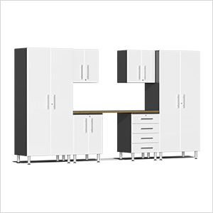 7-Piece Cabinet Kit with Bamboo Worktop in Starfire White Metallic