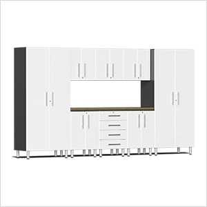 9-Piece Cabinet Kit with Bamboo Worktop in Starfire White Metallic