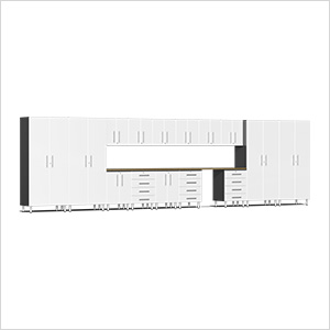 17-Piece Cabinet Kit with Bamboo Worktop in Starfire White Metallic