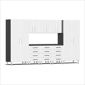 9-Piece Cabinet Kit with Channeled Worktop in Starfire White Metallic