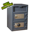 Hollon Safe Company Front Load Double-Door Depository Safe with Combination and Key Locks