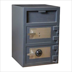 Front Load Double-Door Depository Safe with Combination and Key Locks