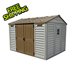 DuraMax Woodbridge 10.5' x 8' Vinyl Storage Apex Vinyl Shed with Foundation Kit