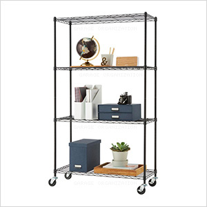 Black 4-Tier Wire Shelving Rack