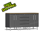 Ulti-MATE Garage Cabinets 4-Piece Workstation Kit with Bamboo Worktop in Graphite Grey Metallic