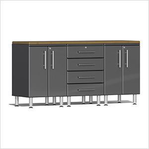4-Piece Workstation Kit with Bamboo Worktop in Graphite Grey Metallic
