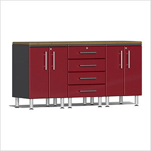 4-Piece Workstation Kit with Bamboo Worktop in Ruby Red Metallic