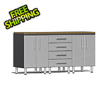 Ulti-MATE Garage Cabinets 4-Piece Workstation Kit with Bamboo Worktop in Stardust Silver Metallic