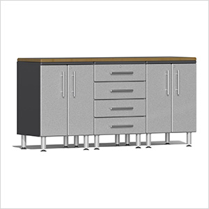 4-Piece Workstation Kit with Bamboo Worktop in Stardust Silver Metallic