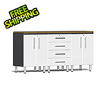 Ulti-MATE Garage Cabinets 4-Piece Workstation Kit with Bamboo Worktop in Starfire White Metallic