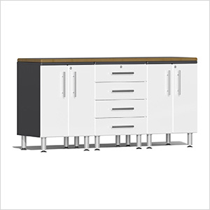 4-Piece Workstation Kit with Bamboo Worktop in Starfire White Metallic