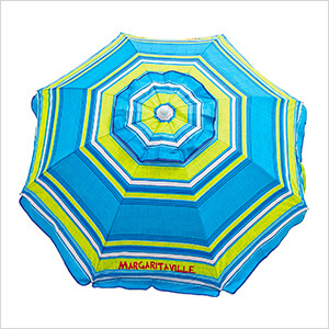 Blue/Green Stripe 6 ft. Beach Umbrella with Built-in Sand Anchor