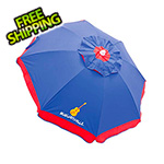 Margaritaville Blue/Red Border 6 ft. Beach Umbrella with Built-in Sand Anchor
