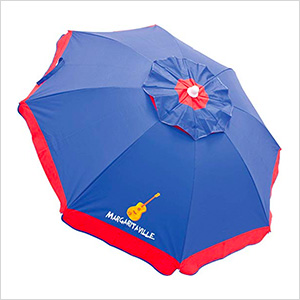 Blue/Red Border 6 ft. Beach Umbrella with Built-in Sand Anchor