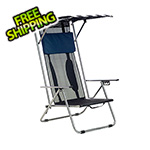 Quik Shade Navy/White Beach Recliner Shade Chair
