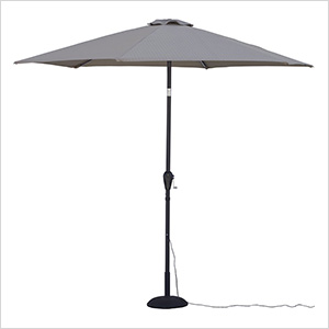 Khaki 9 ft. Warm White LED Umbrella