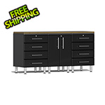 Ulti-MATE Garage Cabinets 4-Piece Workstation Kit with Bamboo Worktop in Midnight Black Metallic