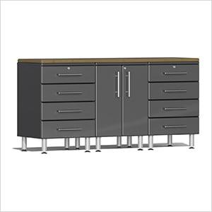 4-Piece Workstation Kit with Bamboo Worktop in Graphite Grey Metallic